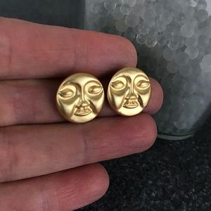 Gold Sun Earrings Face Statement Modern